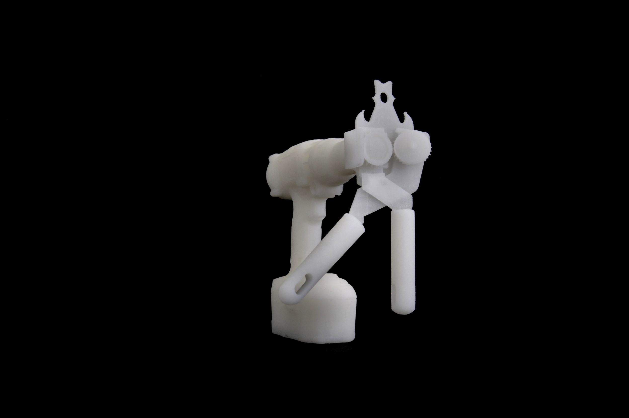 Formal metonymy, 2017, A projection of an animated 3D printed object - a can opener connected to a battery drill, 12 x 6 x 11 cm, Courtesy of the artist and Gypsum Gallery.