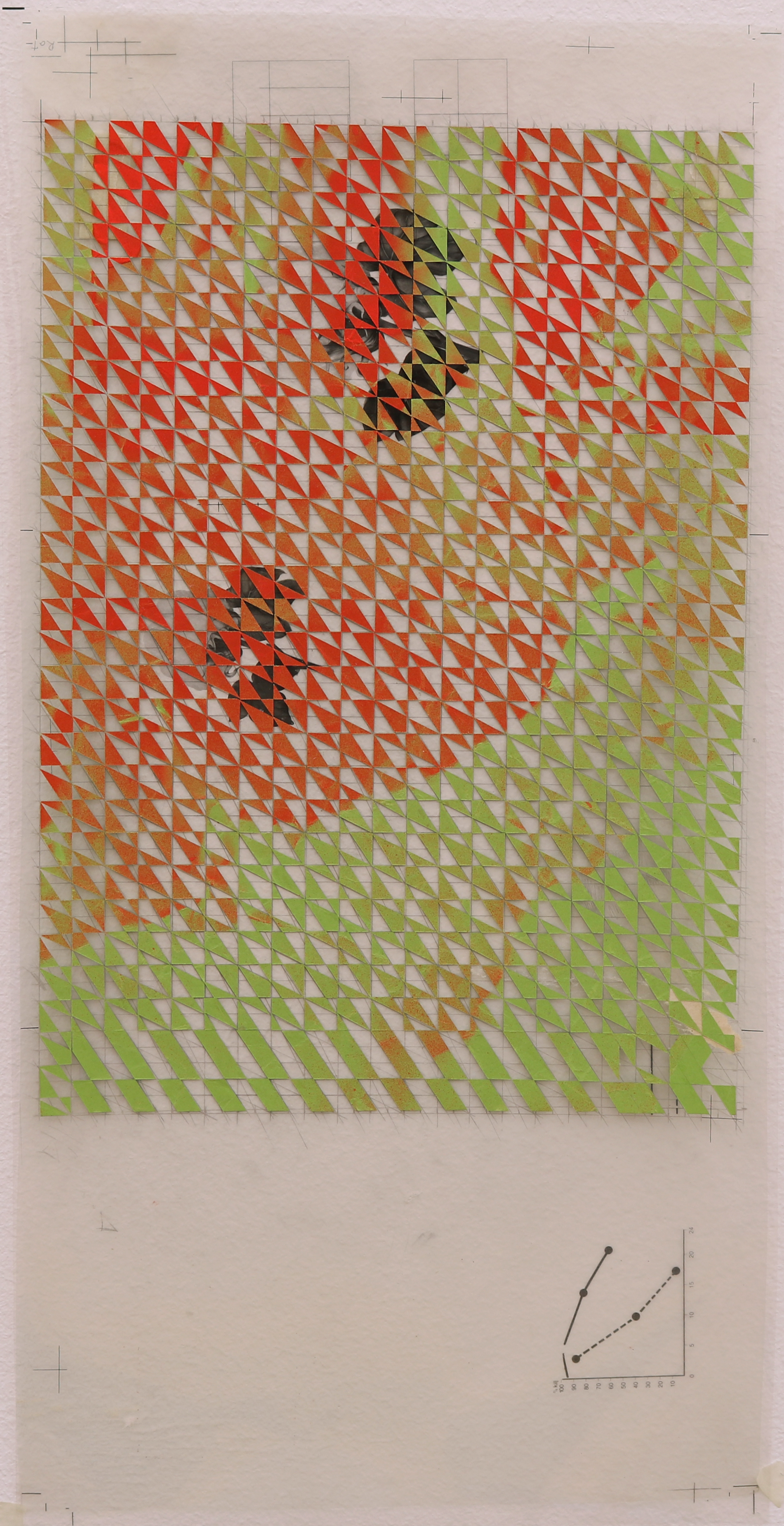 Untitled (red, green), 2016, spray paint on paper collage, on plastic transparencies from my father's office, 20 x 50 cm.