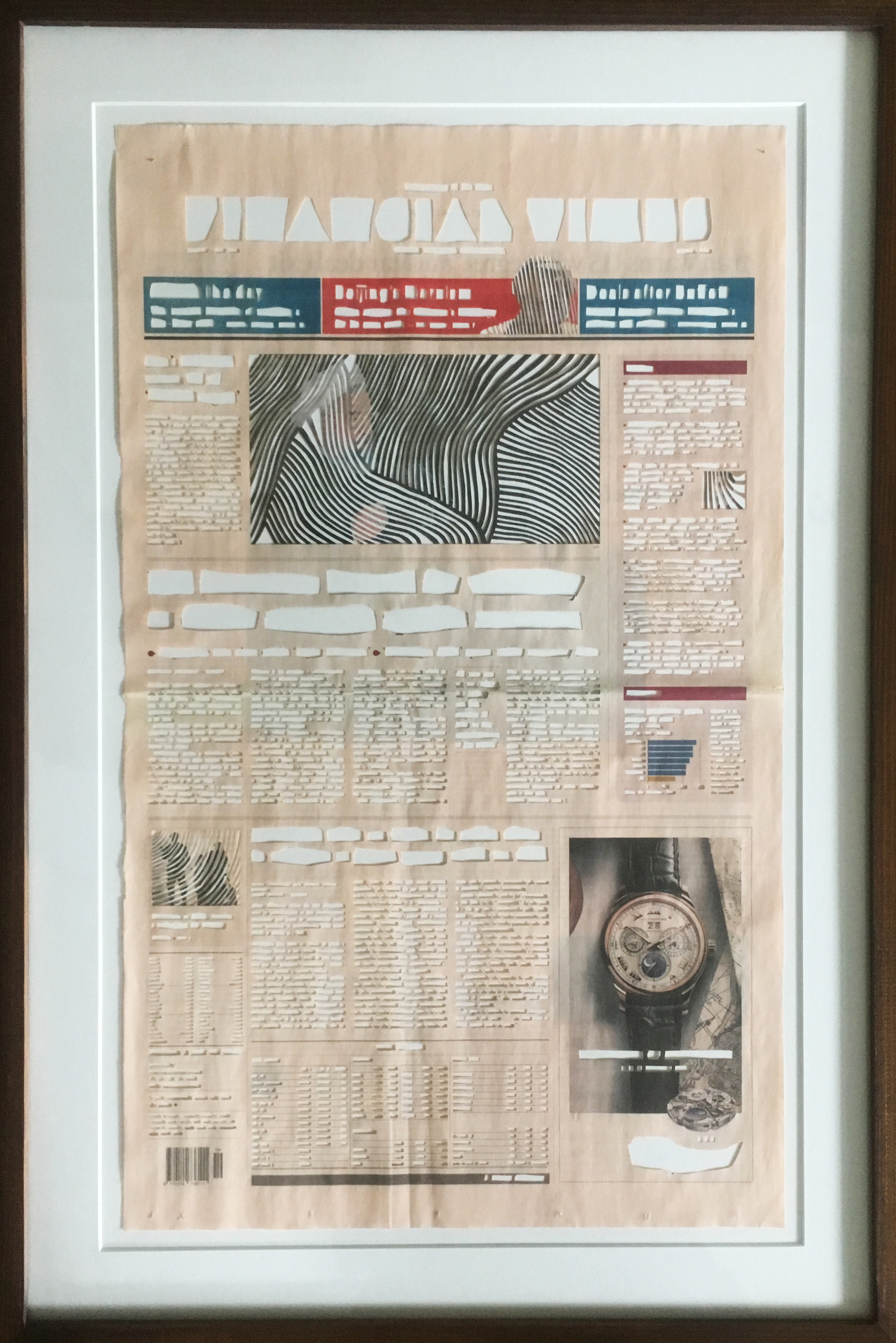 Historic Regret (Timepieces of Distinction), 2018, Newspaper cutout, 57.5 x 35 cm.