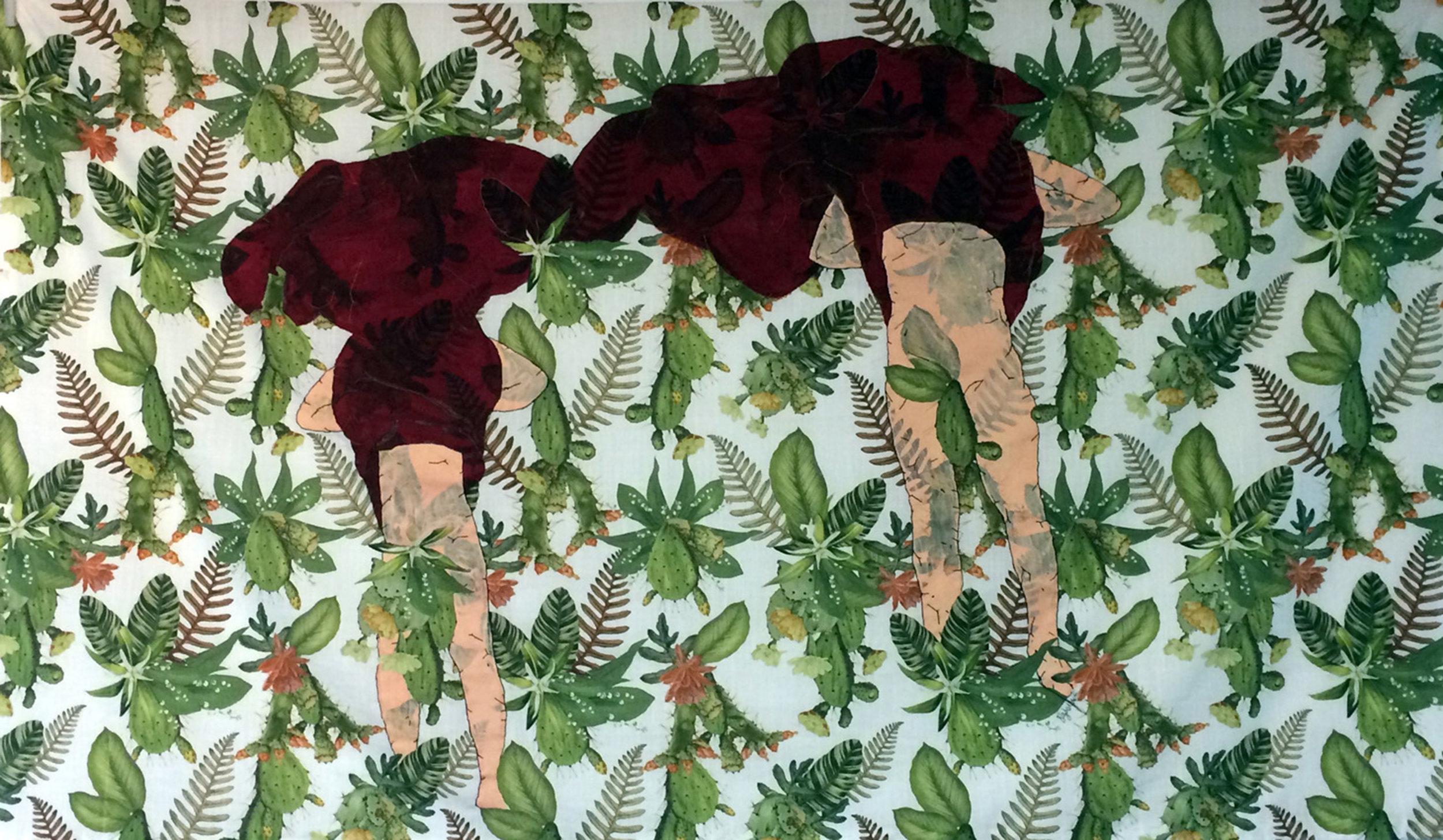 Perfect Match, 2018, Stitching on found fabric, 88 x 148 cm.