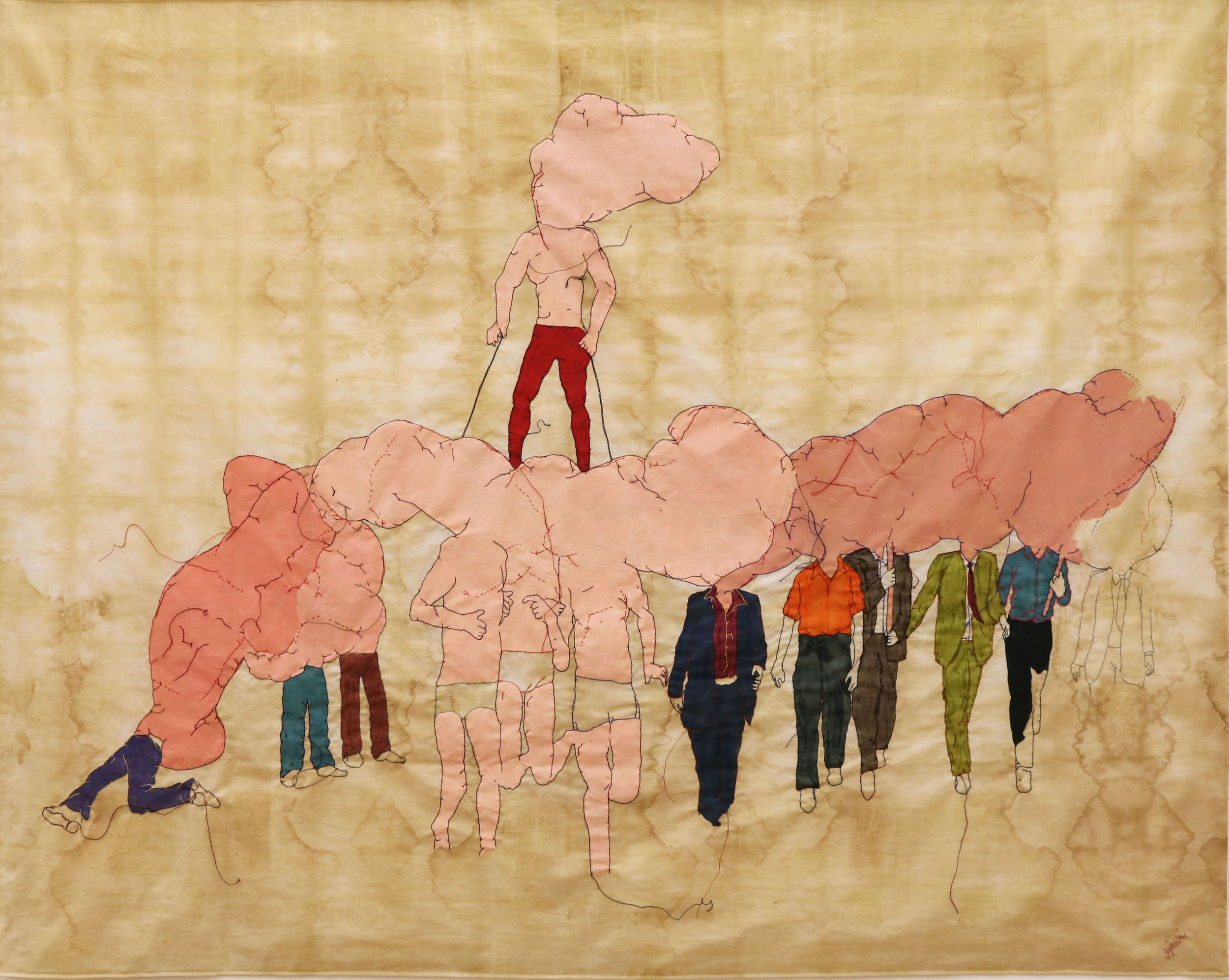 Absent Demonstrations, 2016, embroidery, painting on naturaldyed fabric, 116.5 x 146.5 cm