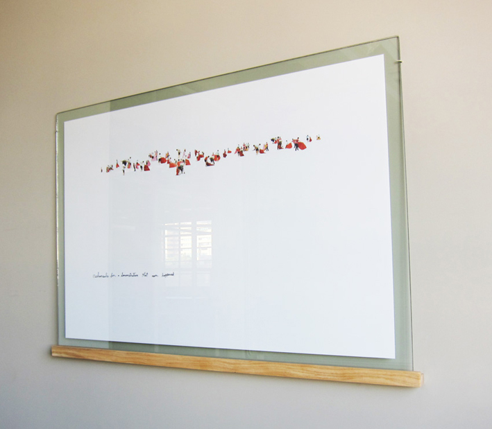Untitled (Dream), 2012, Inkjet print, 100 x 150cm; Two glass sheets, 110 x160 cm (thickness: 4mm and 6mm); Wooden shelf, 5 x 5 x 165 cm; Hand written sentence by the artist on surface of front sheet of glass.