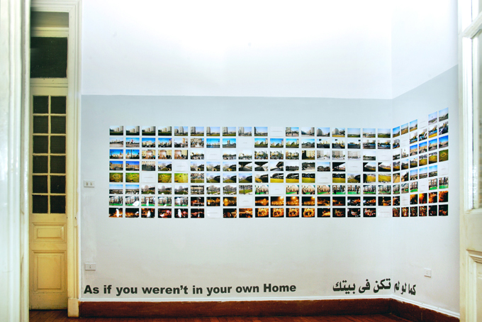 As if you weren't in your own Home, 2008, 176 images and 18 typed-out statements,15 x 10 cm each. Installation view, CiC, Cairo, Egypt.