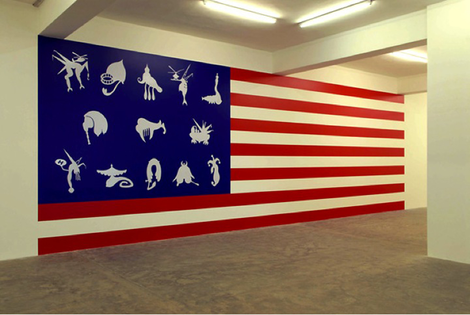 The New World, 2006, acrylic colors. Installation View, Sfeir Semler gallery, Beirut, Lebanon, 2007