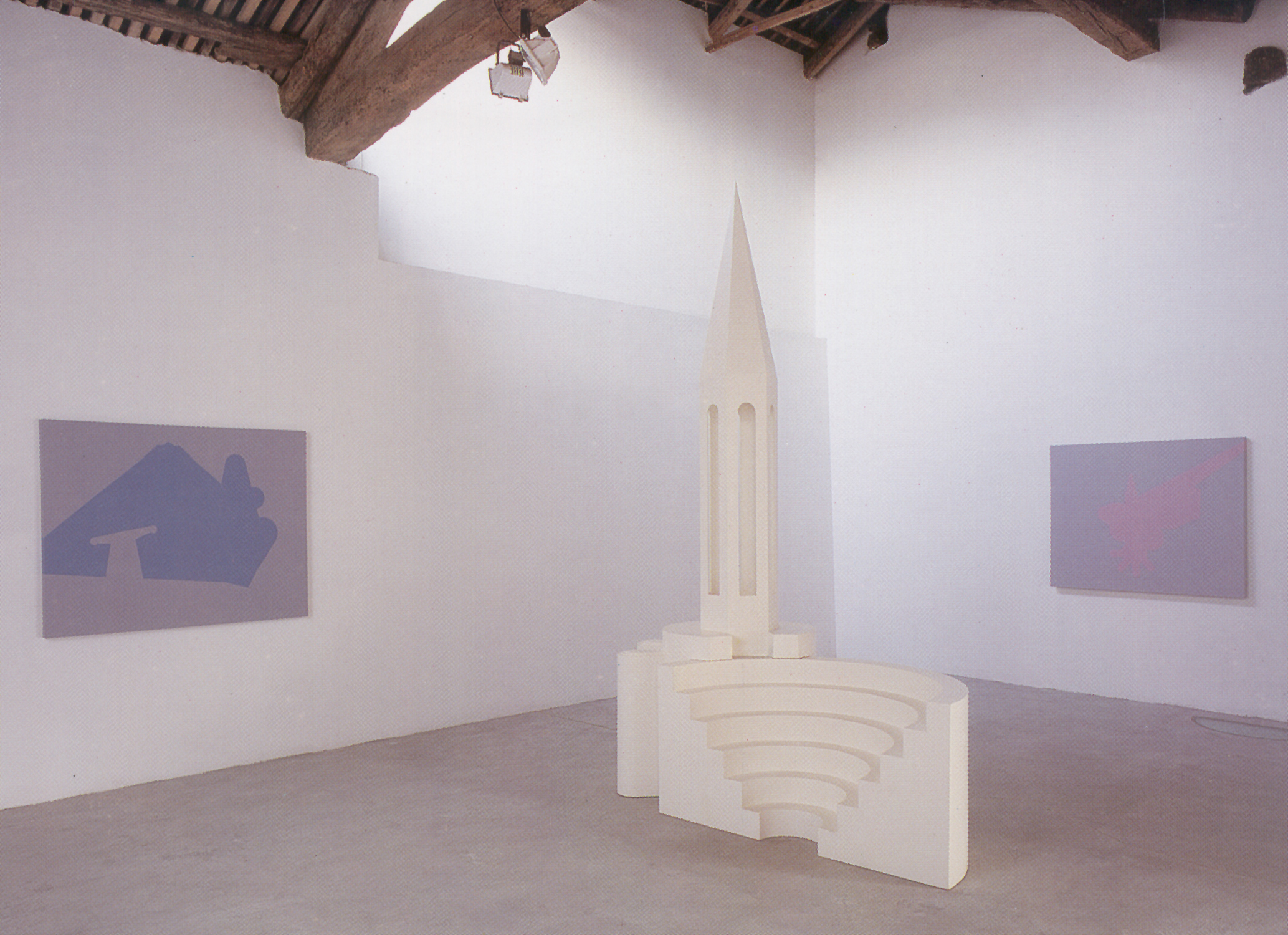 Reconfigured Monuments, 2001, sculpture: painted wood, 210 x 150 x 270 cm and three paintings: acrylic on canvas,140 x 110 cm. Installation view, Marco Noire Contemporary Arts Gallery, Turin, Italy, 2002. Courtesy: The Modern Art Gallery (GAM), Turin, Italy