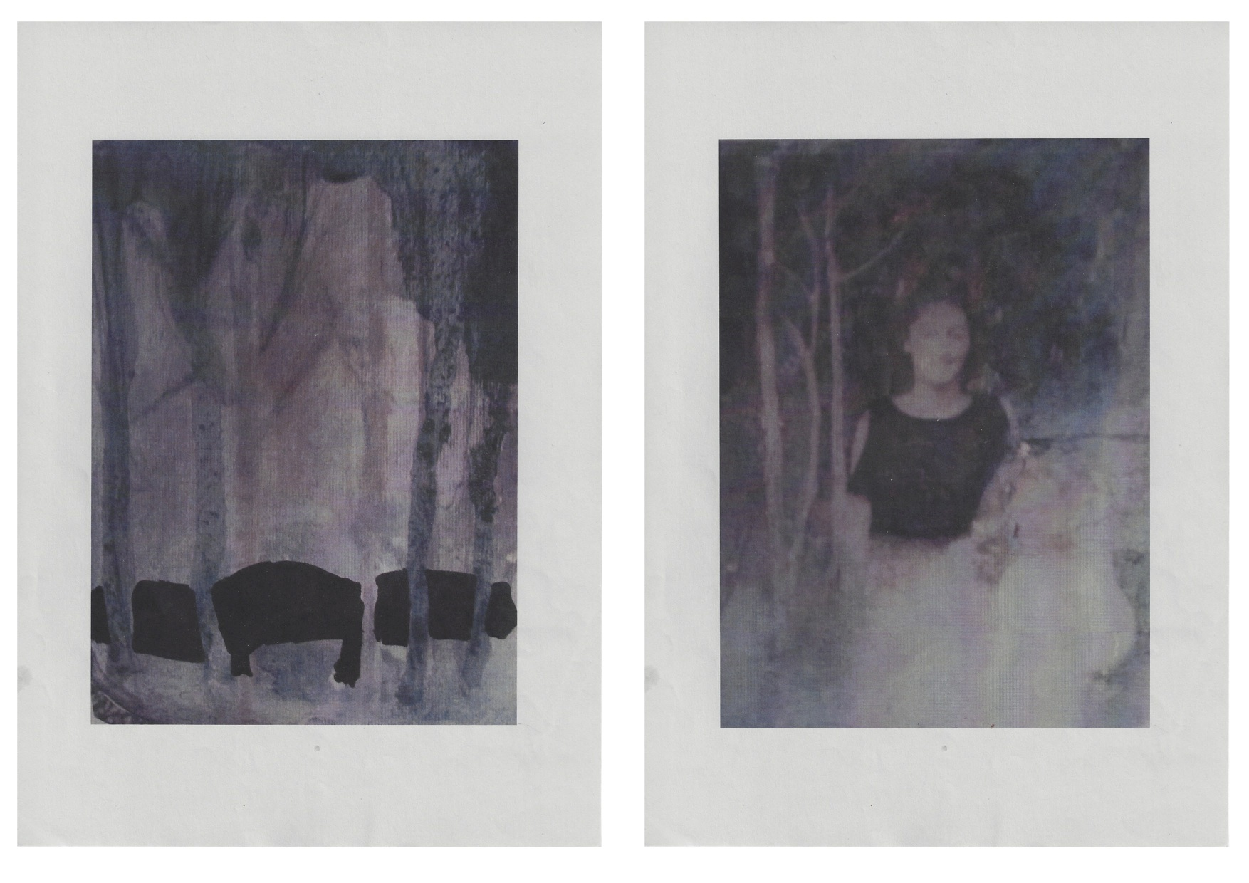 Hunt, 2012, laser print and mixed media on paper, 21 x 14.8 each