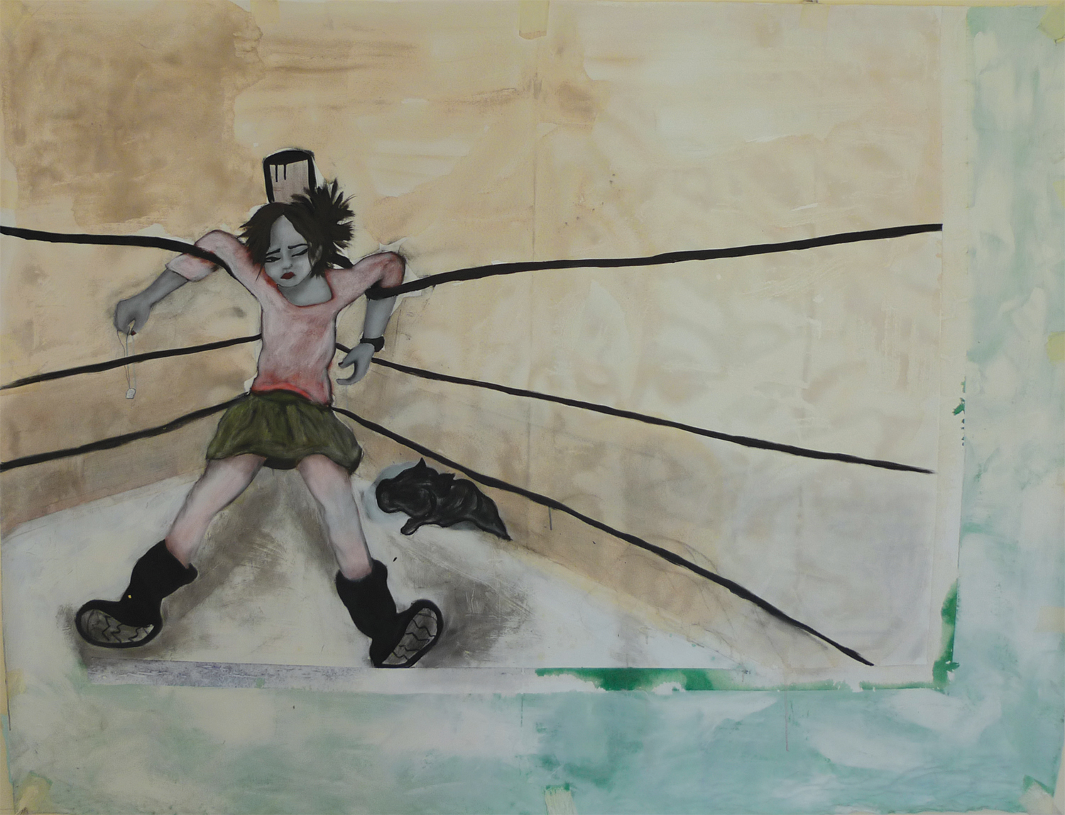 Knocked Out, 2009, acrylic paint on canvas, 156 x 204 cm