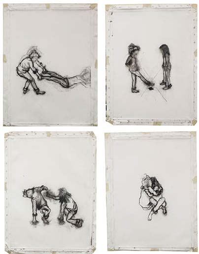 From series Make Room For Me, 2013, charcoal on canvas, 70 x 50cm each