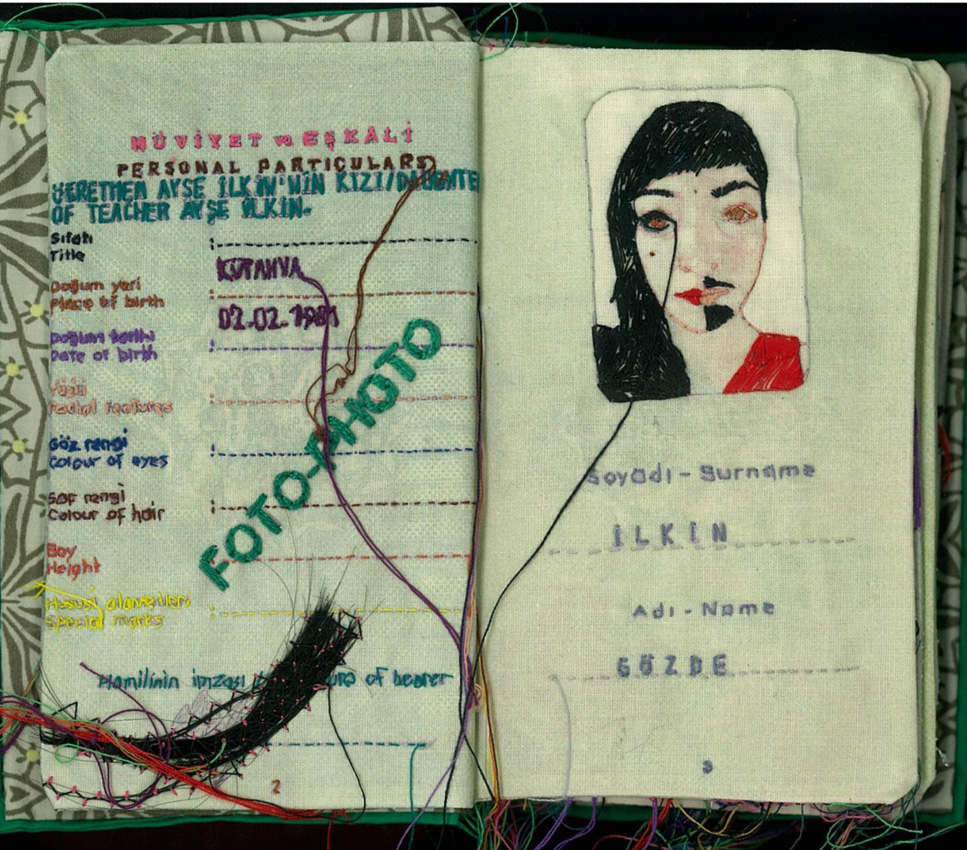 Special Passport, 2009, embroidery on fabric, 14.5 x 9.5 cm (original  dimensions) 22 pages.