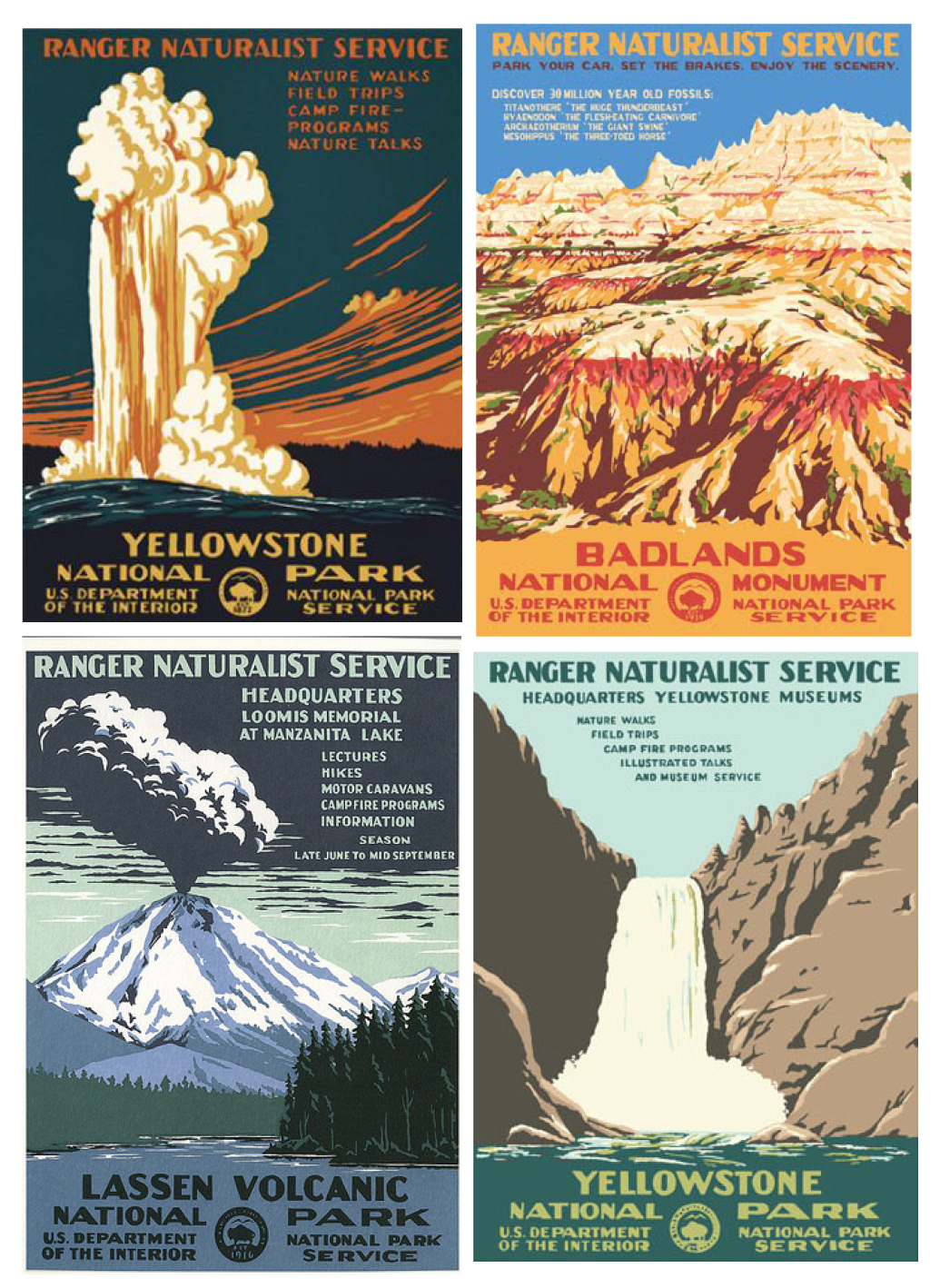 "I found these beautiful postcards sold at the general stores in Yellowstone. Imagine being one of the artists tasked with bringing the majestic beauty of America's pristine parks to the public. Here's what the back of these cards read:   ""Between 1935 and 1943 the WPA's Federal Art Project printed over two million posters in 35,000 different designs to stir the public's imagination for education, theater, health, safety, and travel. Due to their fragile nature only two thousand posters have survived."""