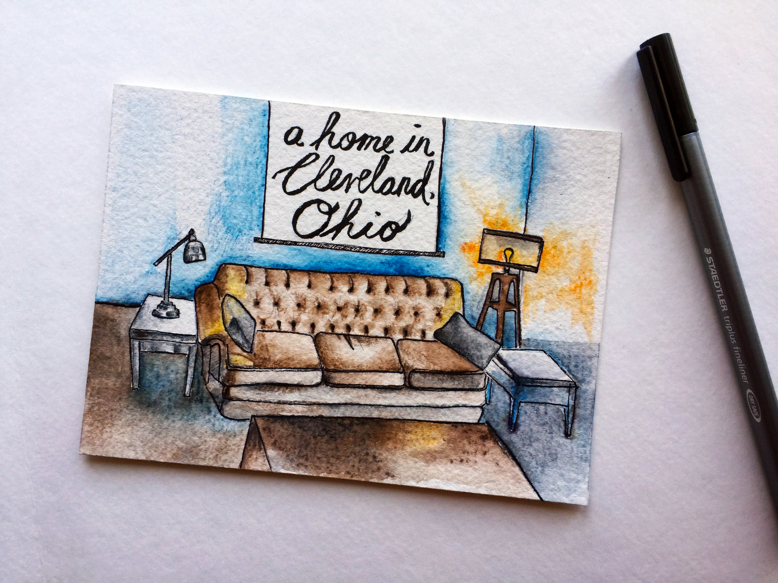 My first postcard of the series was for Karen, a dear friend I met while studying abroad in Mongolia many years ago. I painted her a watercolor scene of the living room at our Airbnb in Cleveland, Ohio - an old house our host bought for for $12,000 during the recession, and turned into something really beautiful. This is the way that Cleveland felt to me: somewhat scrappy and homegrown.