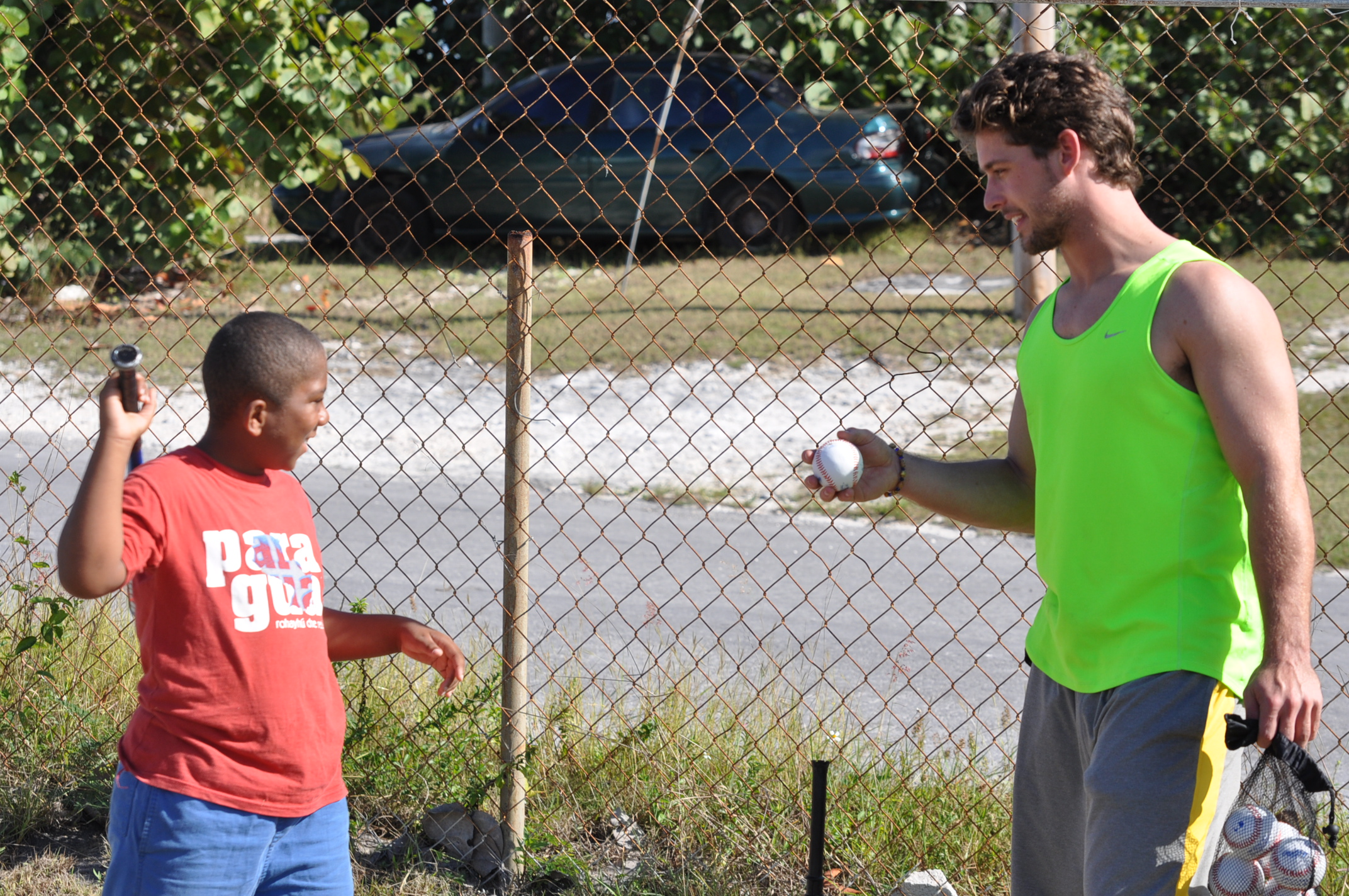 C.T. Bradford giving some hitting instruction in Eleuthera.