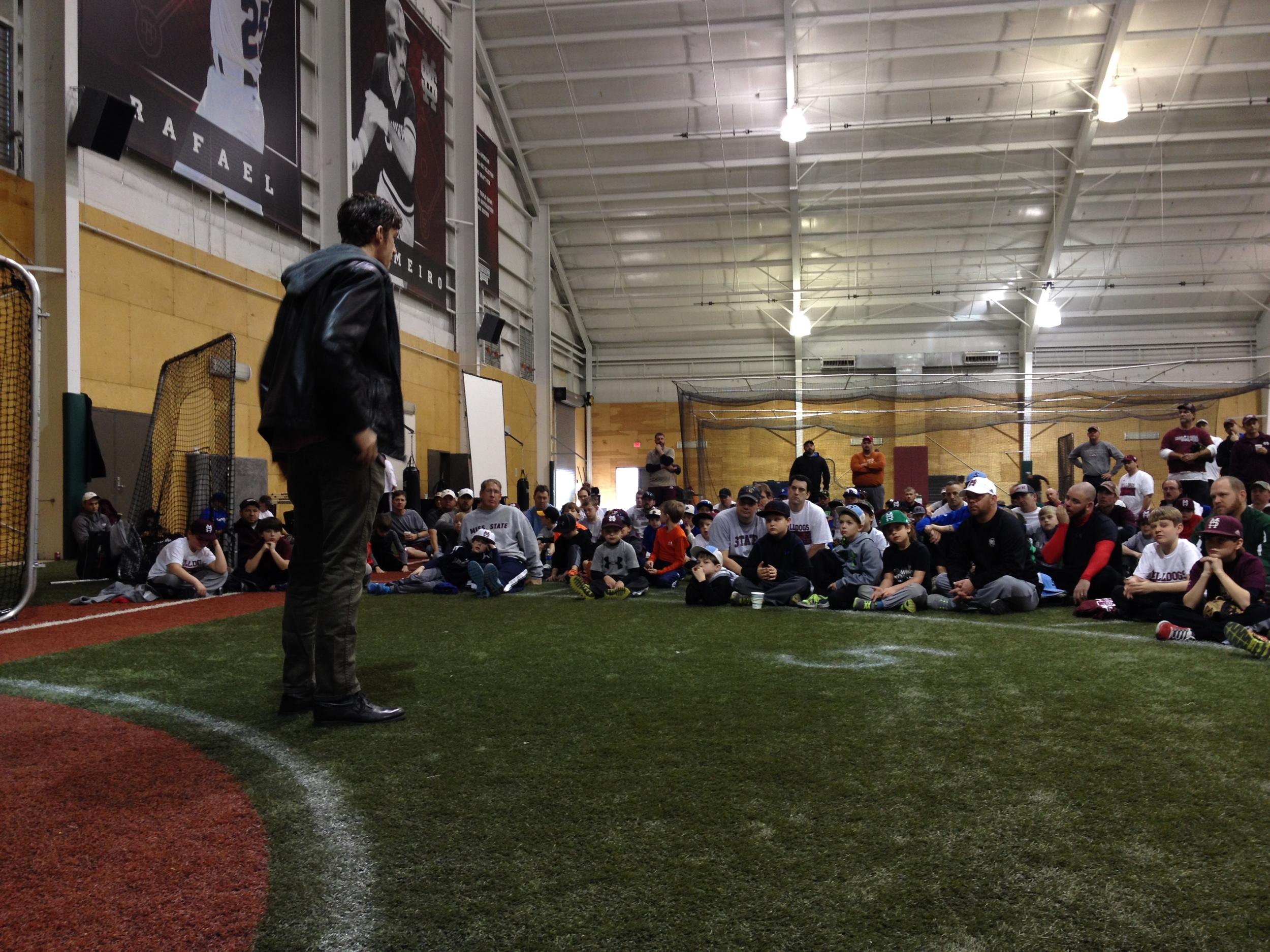Ross sharing at MSU Father-Son baseball camp