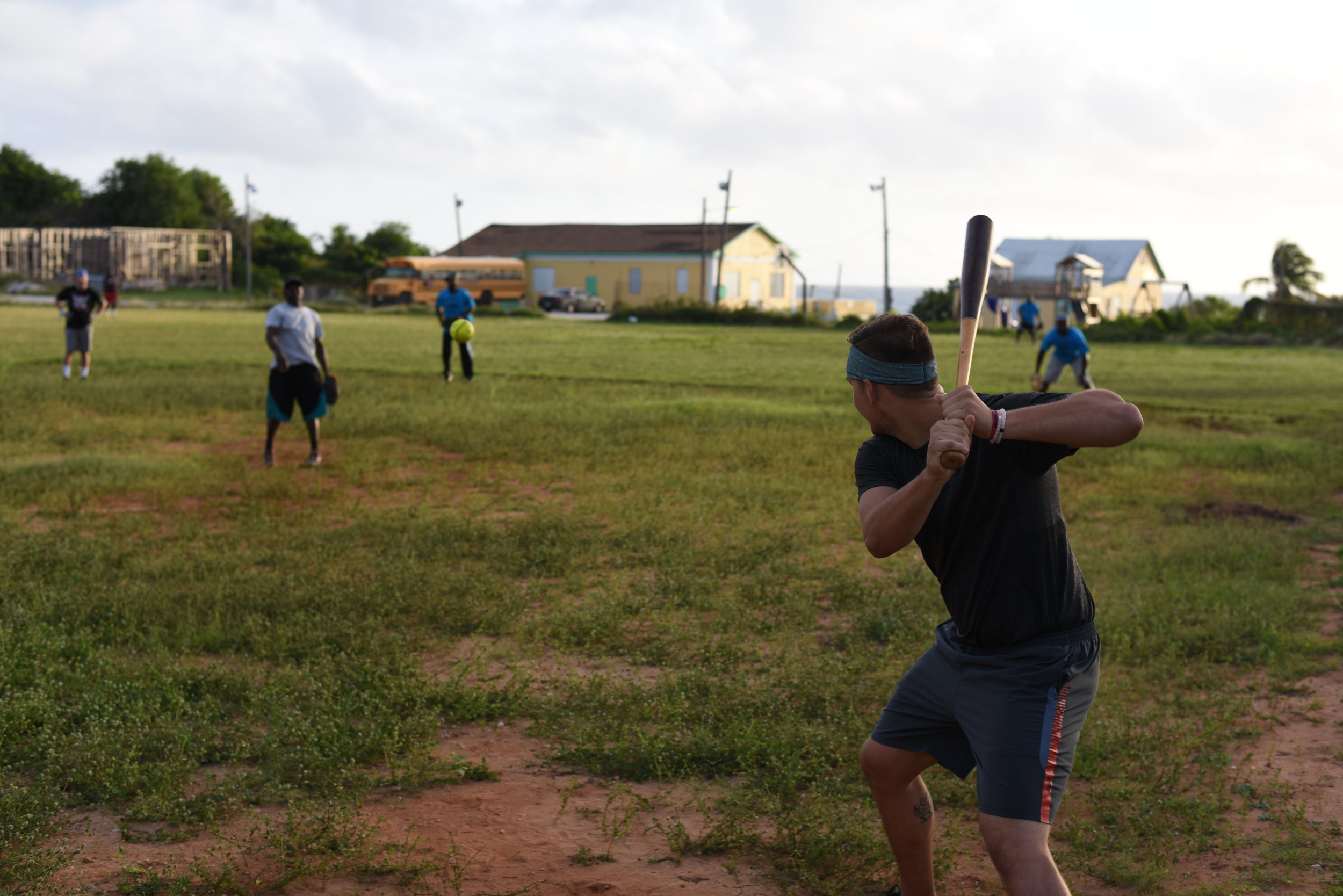 Nathaniel Lowe up to bat during a softball game against the local team that in James Cistern won the Bahamian National Championship in fast pitch softball.