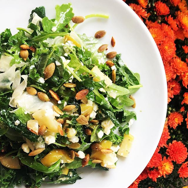 new autumn salad! fire roasted apples , cider vinaigrette , roasted pumpkin seeds , goat cheese , kale , arugula #salad #fall #autumn #getsome
