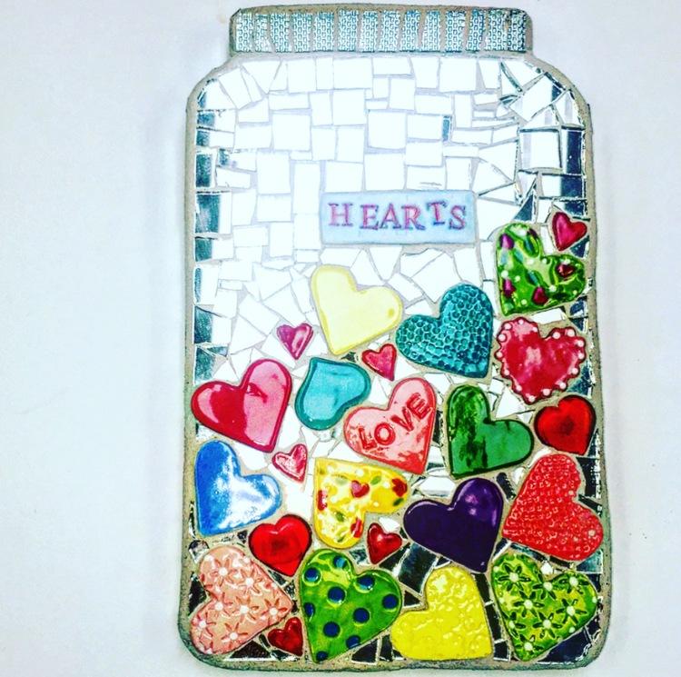 Mosaic Jar Of Hearts by Heidi Borchers