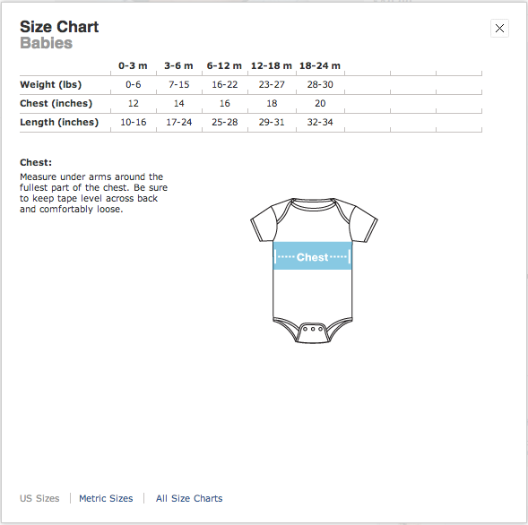 American Apparel Baby Size Chart (US)
