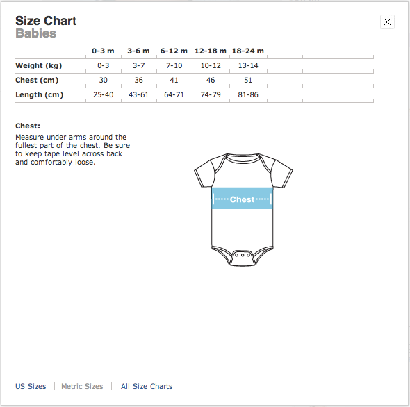 American Apparel Baby Size Chart (Metric)