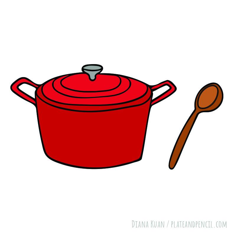 Dutch oven illustration | Diana Kuan, Plate & Pencil