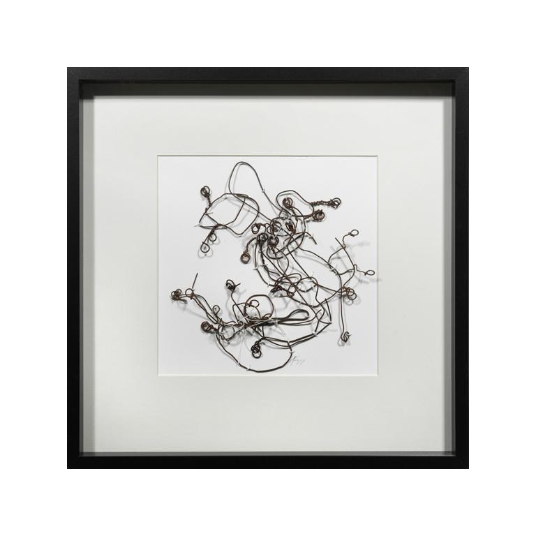 The Walking Drawings (#312D), metal, thread on paper.