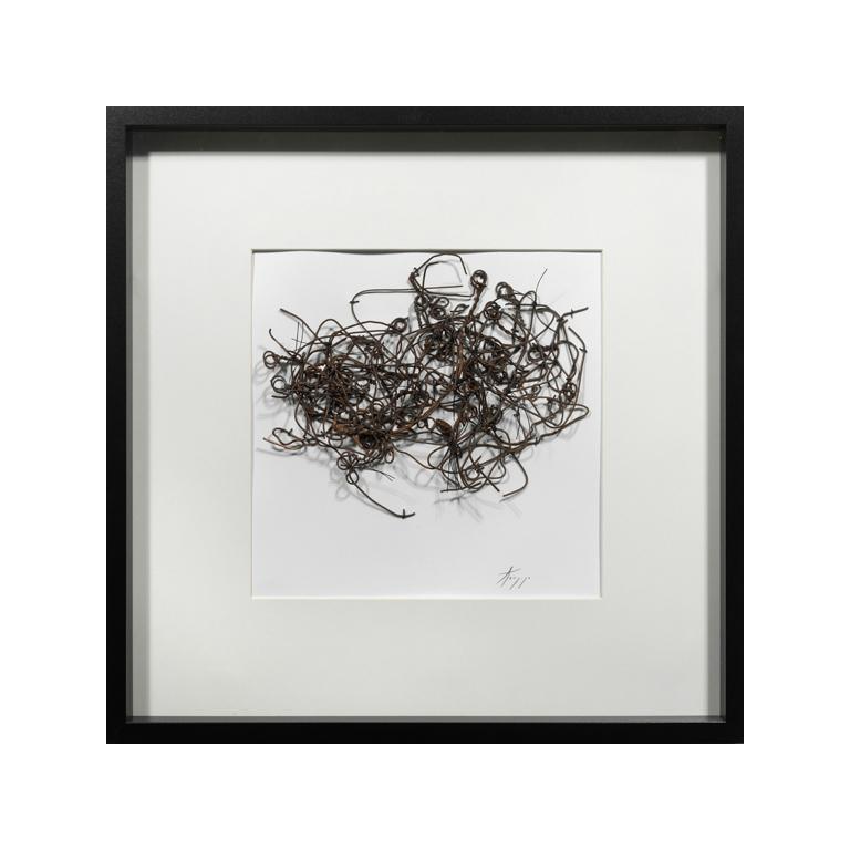 The Walking Drawings , (#512D), metal, thread on paper.