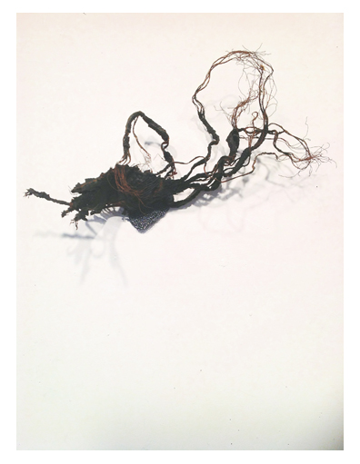 """Blow Out Point Series (#413),  7"""" X 13"""", tire, thread."""