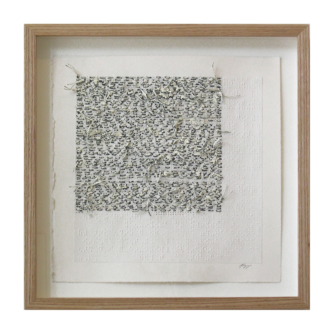"""White Noise Touch Tone (105D) , 13.75""""X13.75"""", oil, thread on braille."""