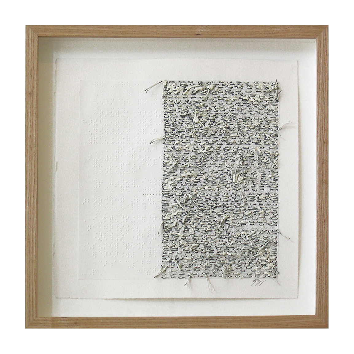 """White Noise Touch Tone (305D), 13.75""""X13.75"""", oil, thread on braille."""