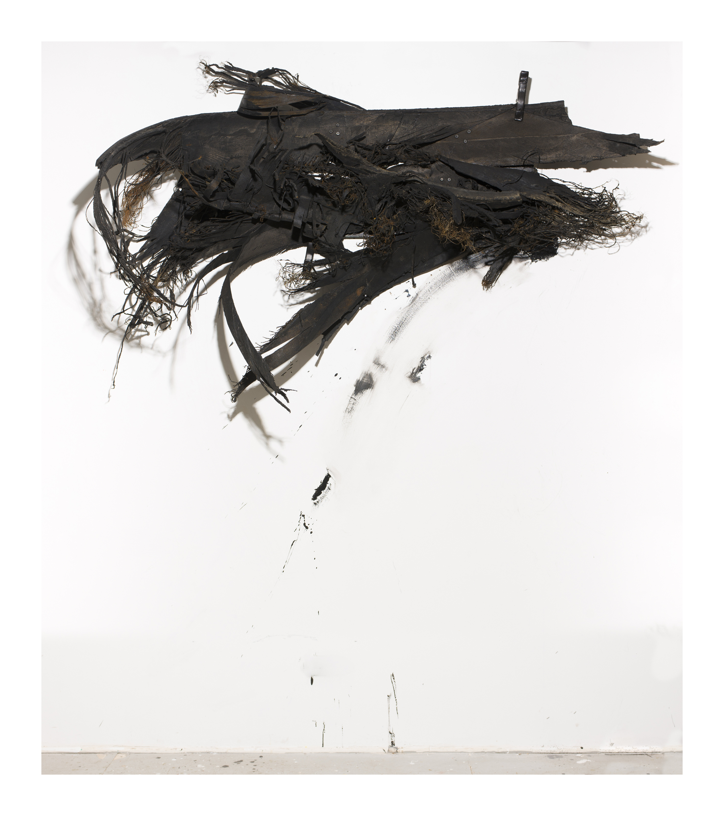 BLOW-OUT: II (115) , 60 X 96 in appx., tire, wire, clamps, acrylic.