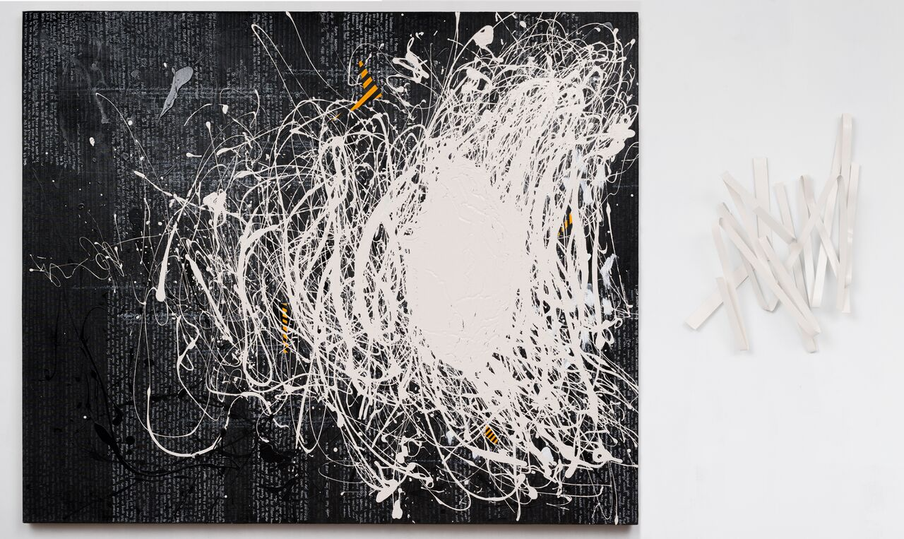 "ON/OFF ll (318), 60"" X 72"", text, oil on linen, aluminum"
