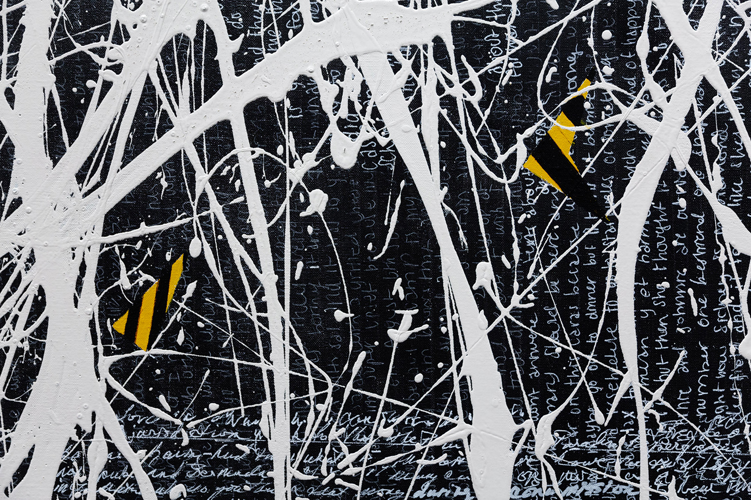 "ON/OFF ll (318), 60"" X 72"", text, oil on linen, aluminum (Detail)"