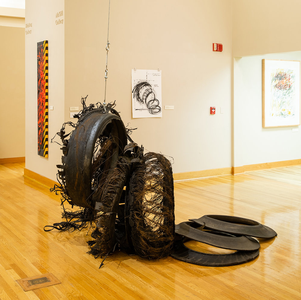 OVER-AND-OUT (1018)  Overall aprox 48x60x60 rubber tire, cable