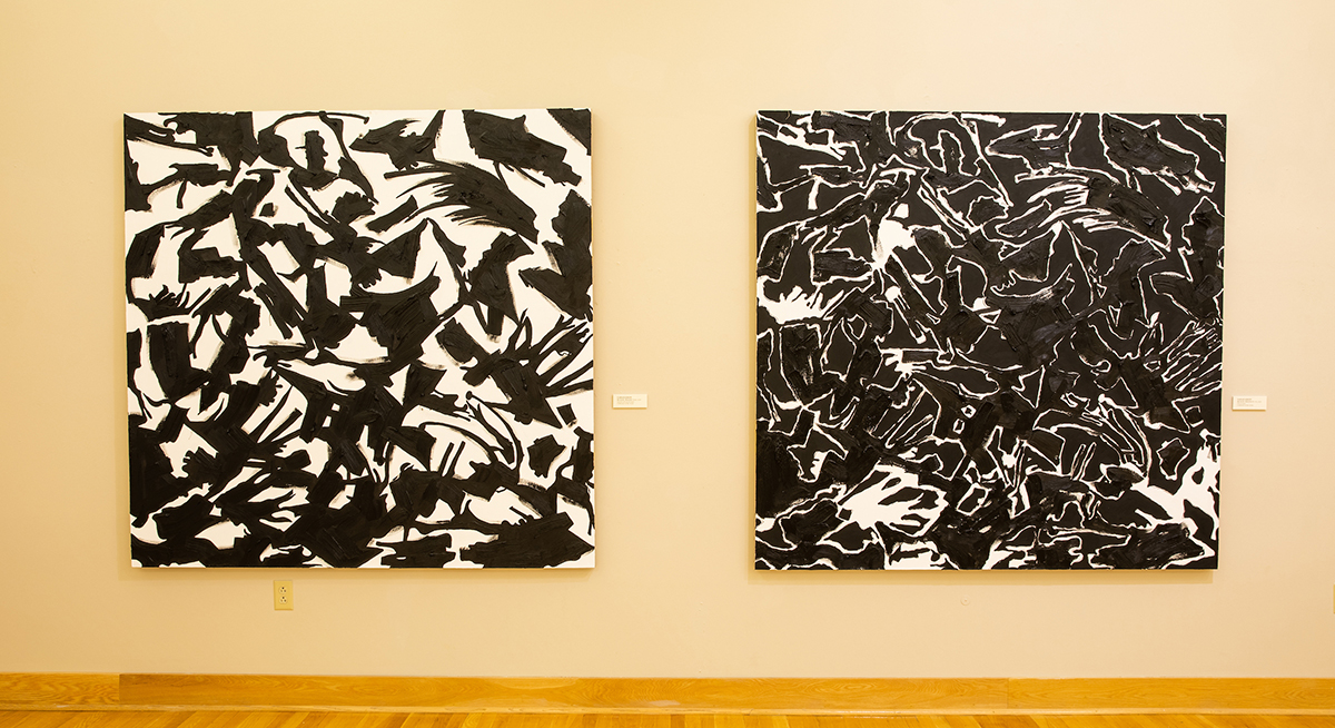 "BLACK-TRACK I (618) and BLACK-TRACK II (718), each 70"" X 72"", oil, acrylic on linen (Installation view)"