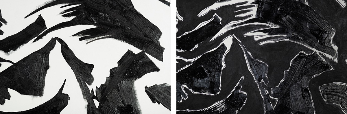 "BLACK-TRACK I (618) and BLACK-TRACK II (718), each 70"" X 72"", oil, acrylic on linen (Detail)"