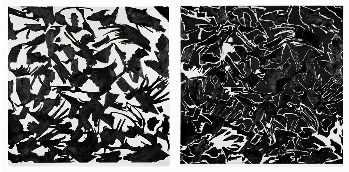 "BLACK-TRACK I (618) and BLACK-TRACK II (718), each 70"" X 72"", oil, acrylic on linen"