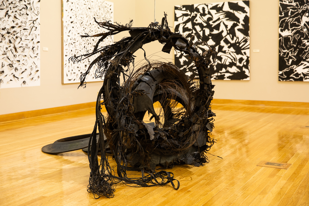 "OVER&OUT (1018)48"" X 60"" approx, rubber tire, cable, steel"