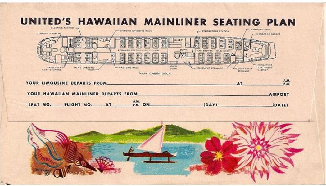 Ticket envelope and seating chart for United Mainliner Stratocruiser.
