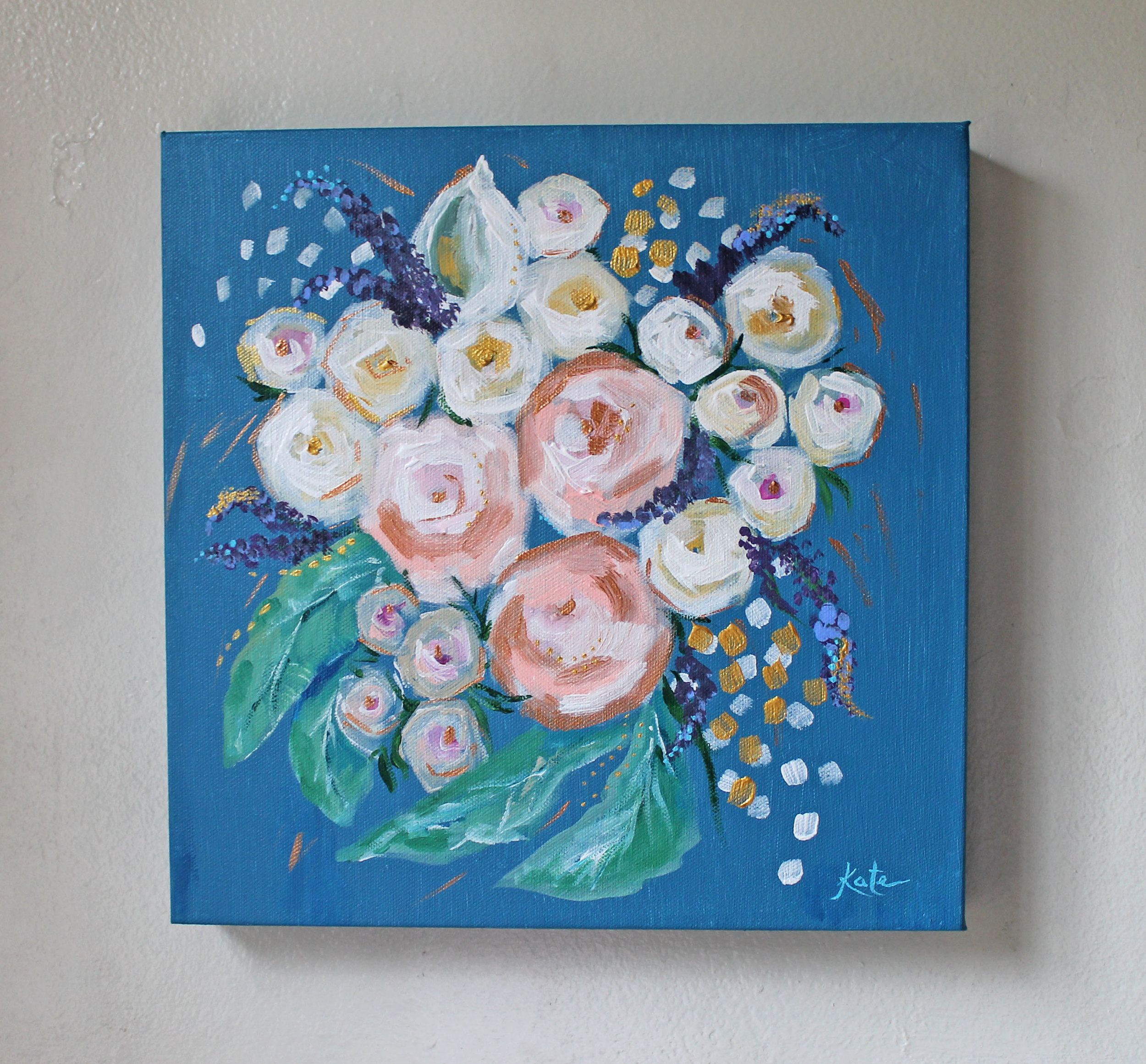"Bridal Bouquet | 12"" x 12"" on Wood Panel 