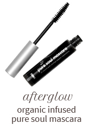 Afterglow Organic Infused Pure Soul Mascara plumps and defines lashes without all the chemicals.