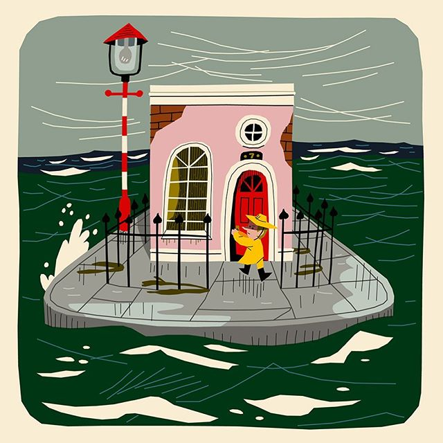 For an illustration exercise I sketched a dream. . . #sketch #illustrations #kidsbookillustration #sea #ocean #wind #edwardian #raincoat #dream