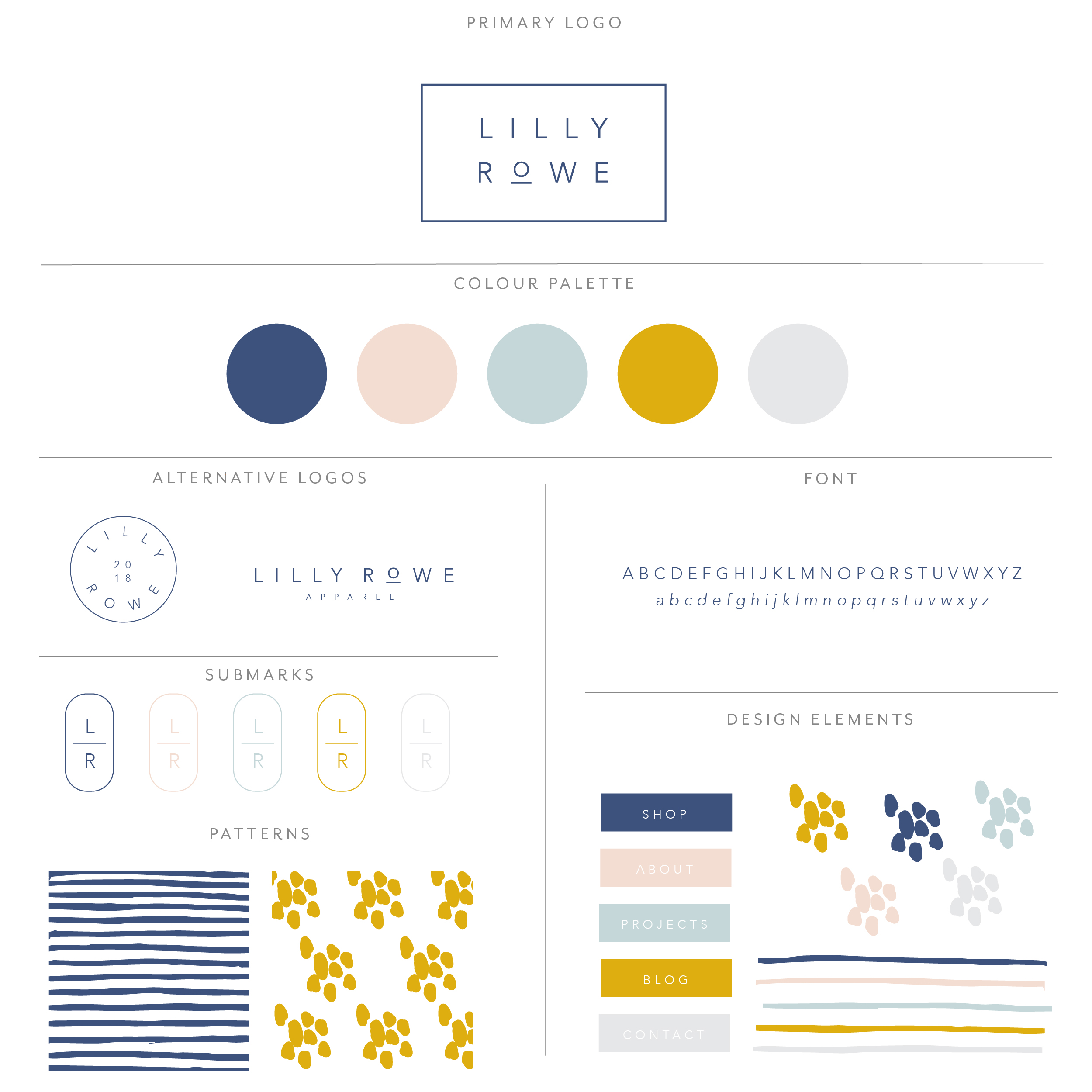Lilly Rowe  is a modern, clean  and simplistic design with stacked san serif font with a thin rectangular box around it. Using hues of blues, a very light blush and yellow to give modern feel.