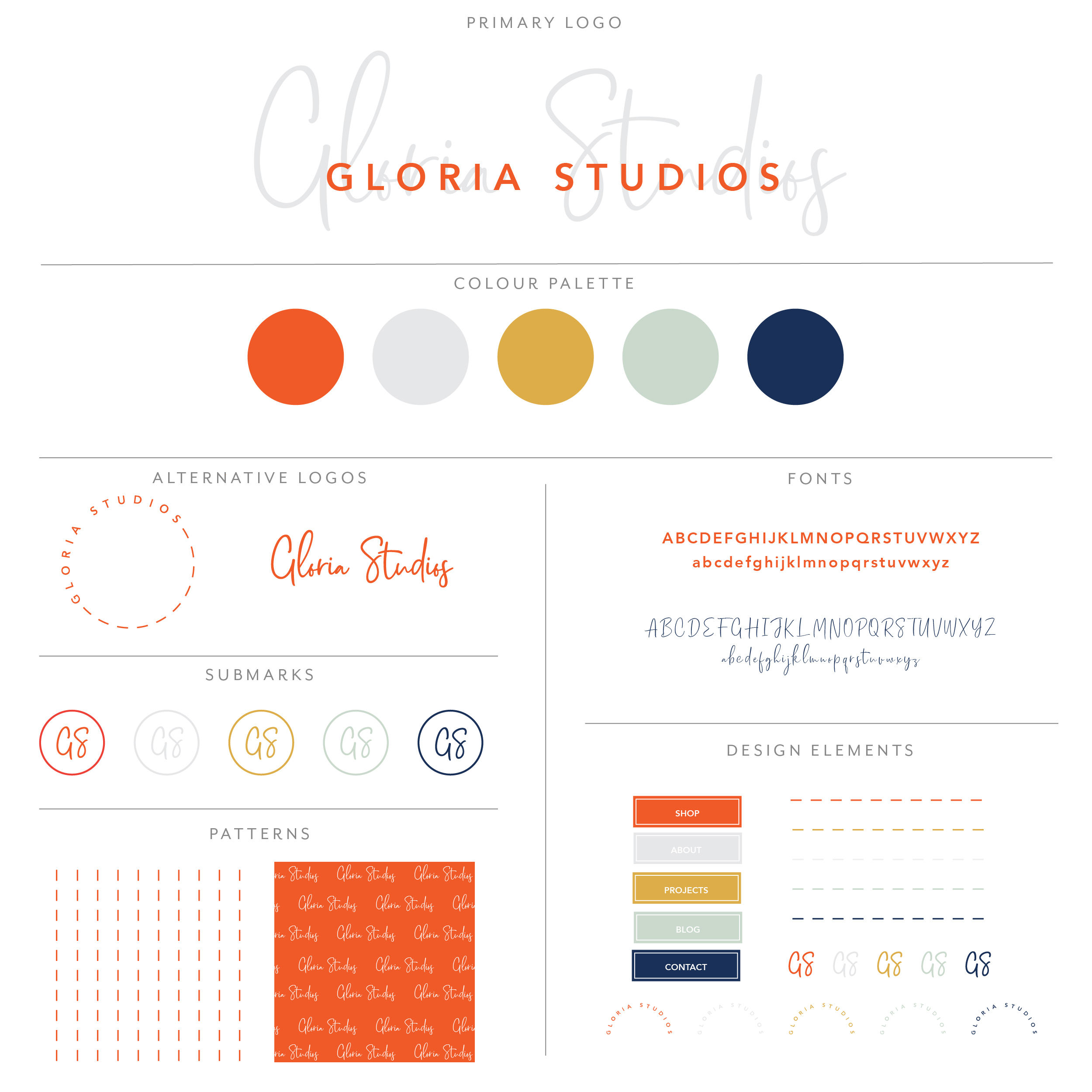 Gloria Studios branding collection uses a modern calligraphy font that is very opaque with a bold san serif font on top. Modern, fun, funky, colorful and confident