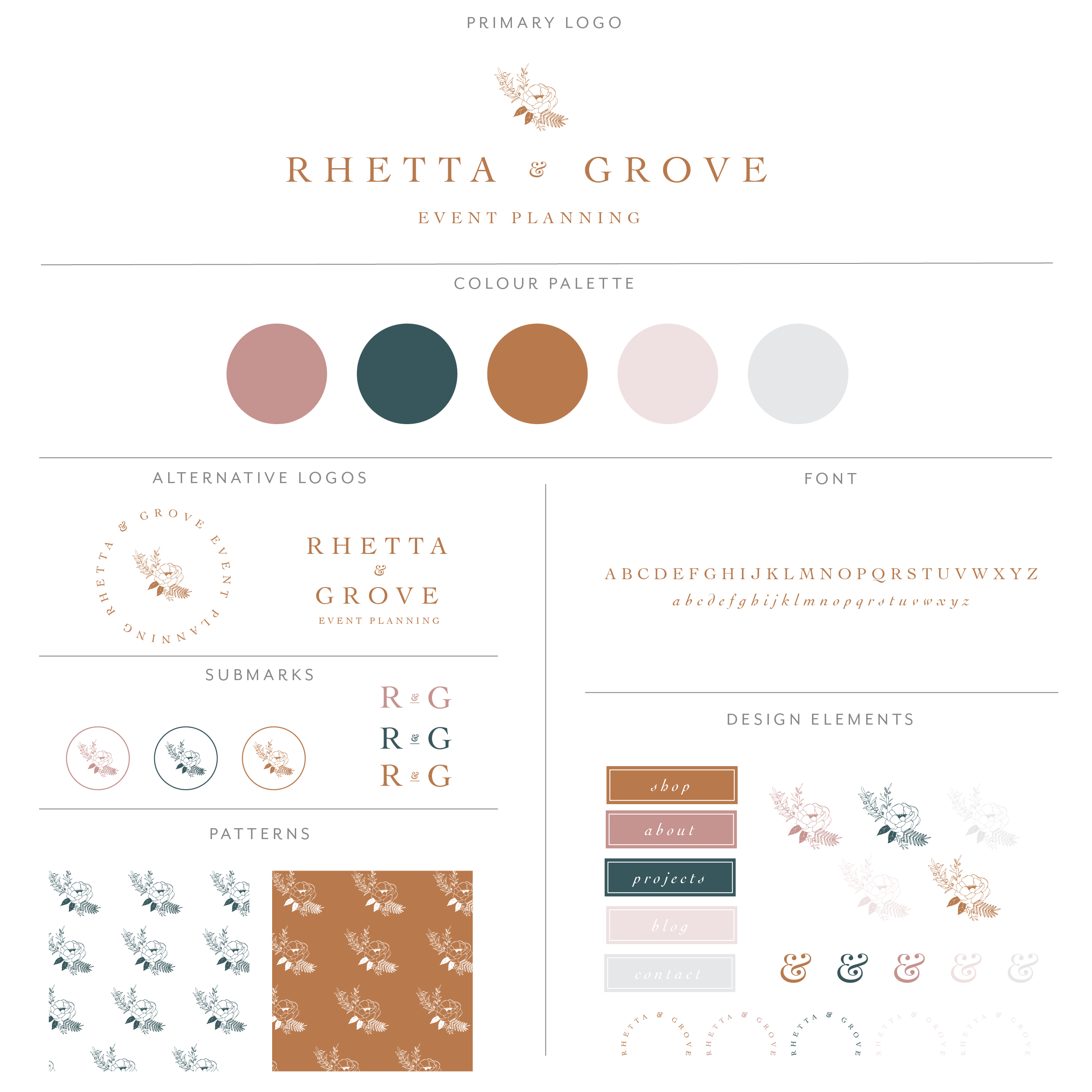 Rhetta and Grove branding collection includes a floral bouquet until of serif font beautiful kerned out. Clay orange with blush, rose and deep blue, very earthy, boho and modern brand