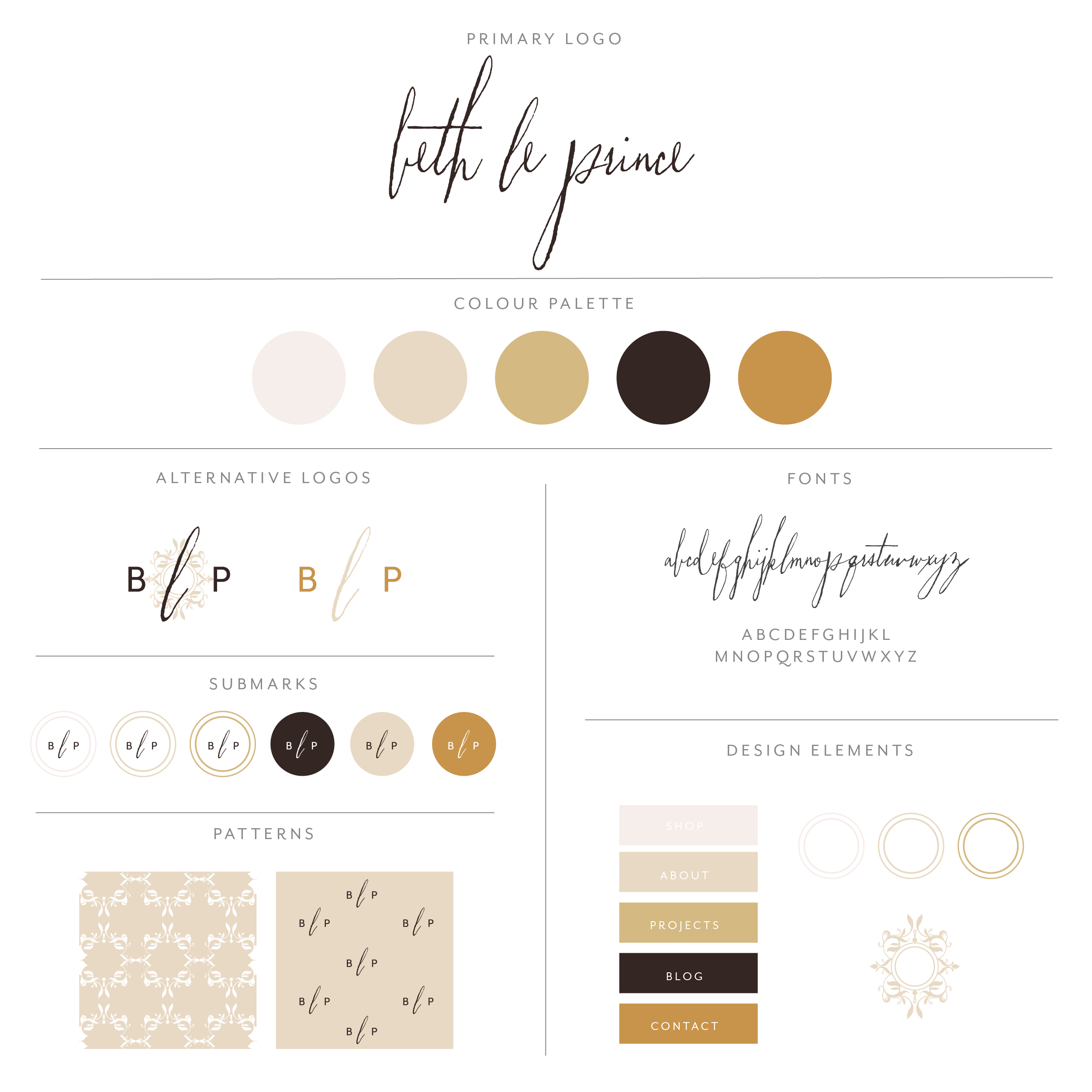 Beth le Prince branding collection, calligraphy font with long frivolous loops, the look of imperfect hand writing with a neutral earth tone color palette. Sophisticated yet simplistic design