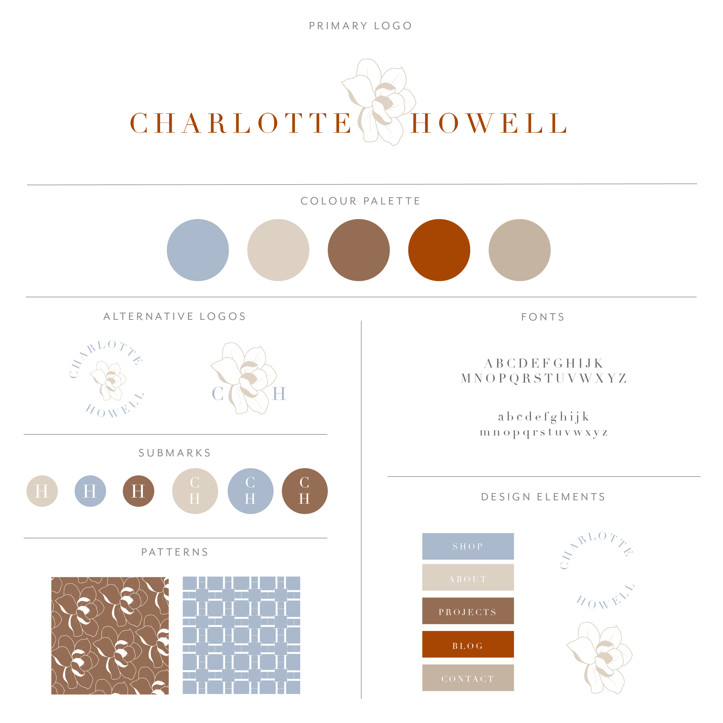 Charlotte Howell branding collection uses serif font with large, opaque flower separating the words. Feminine, yet powerful and sophisticated. Uses deep orange, creams and light shades of blue