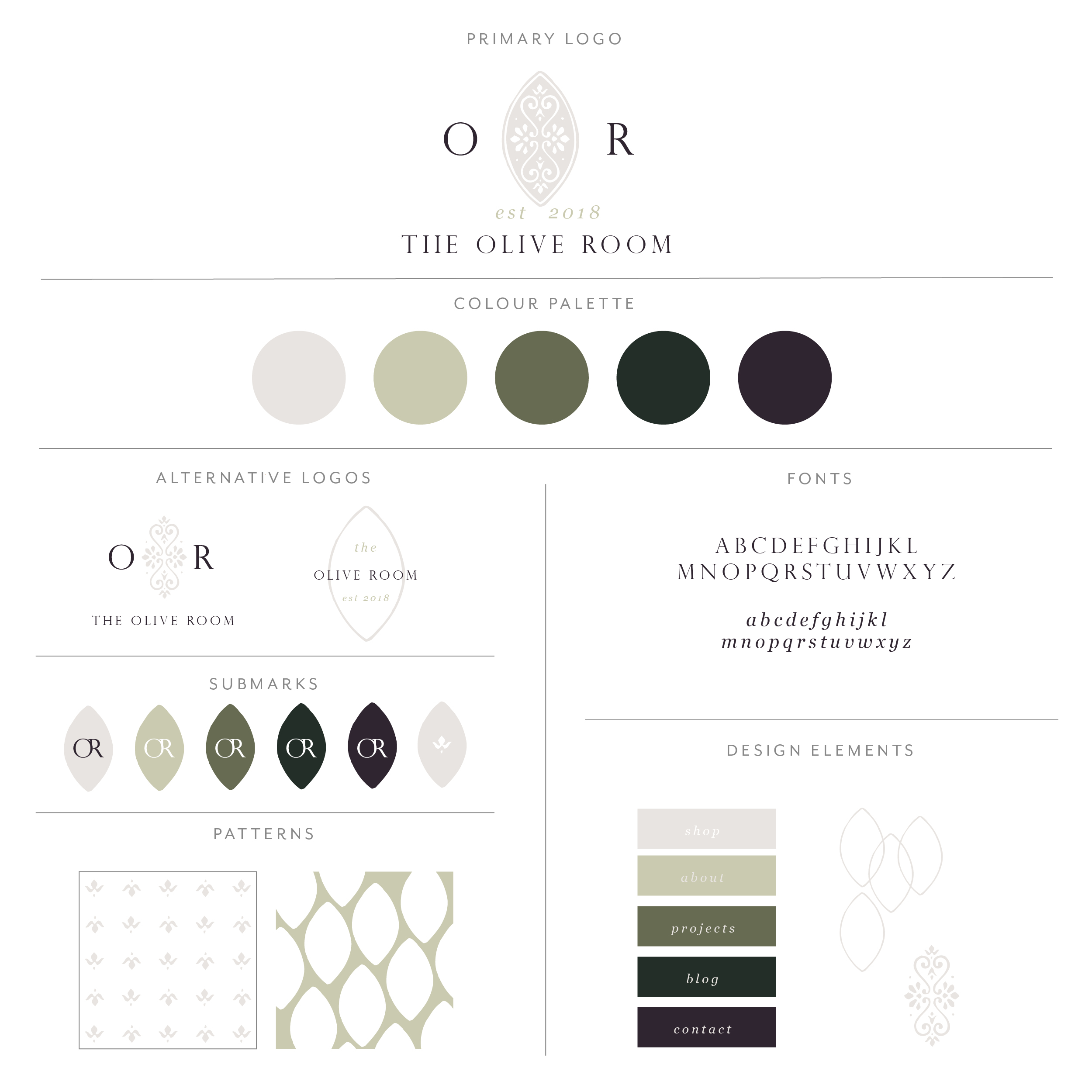The Olive Room Branding Collection, clean modern aesthetic, small flourishes  to add detail