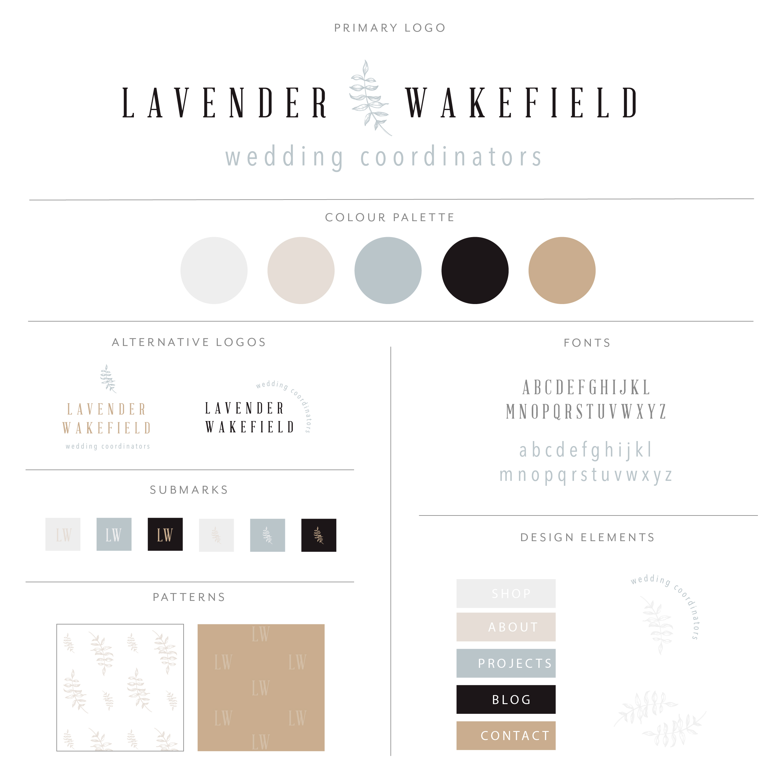 Lavender Wakefield uses tall serif font with fern leaf dividing words. Simplistic styling with a light and classic feel