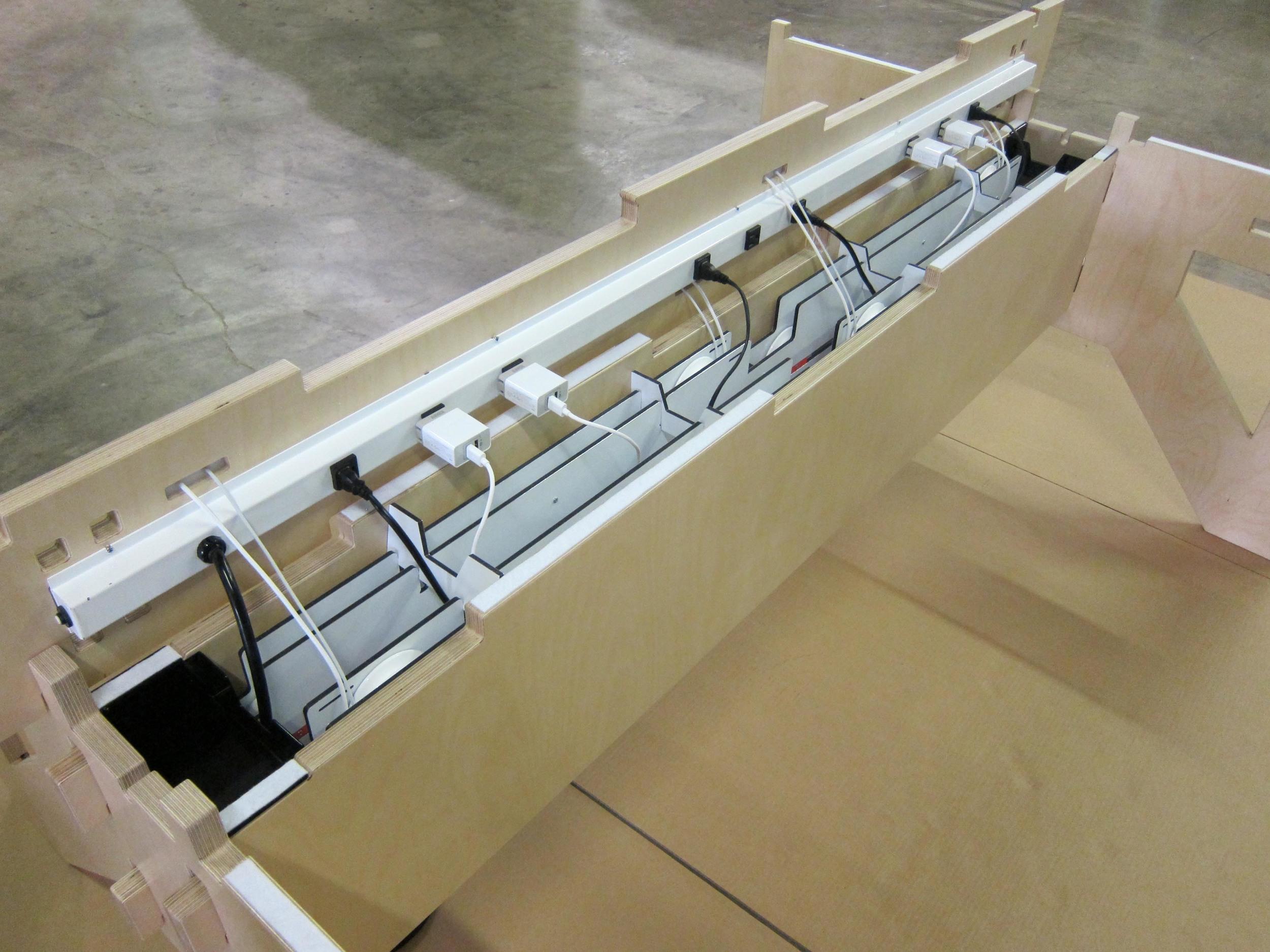 Power strip installed in Klevr WELD Table