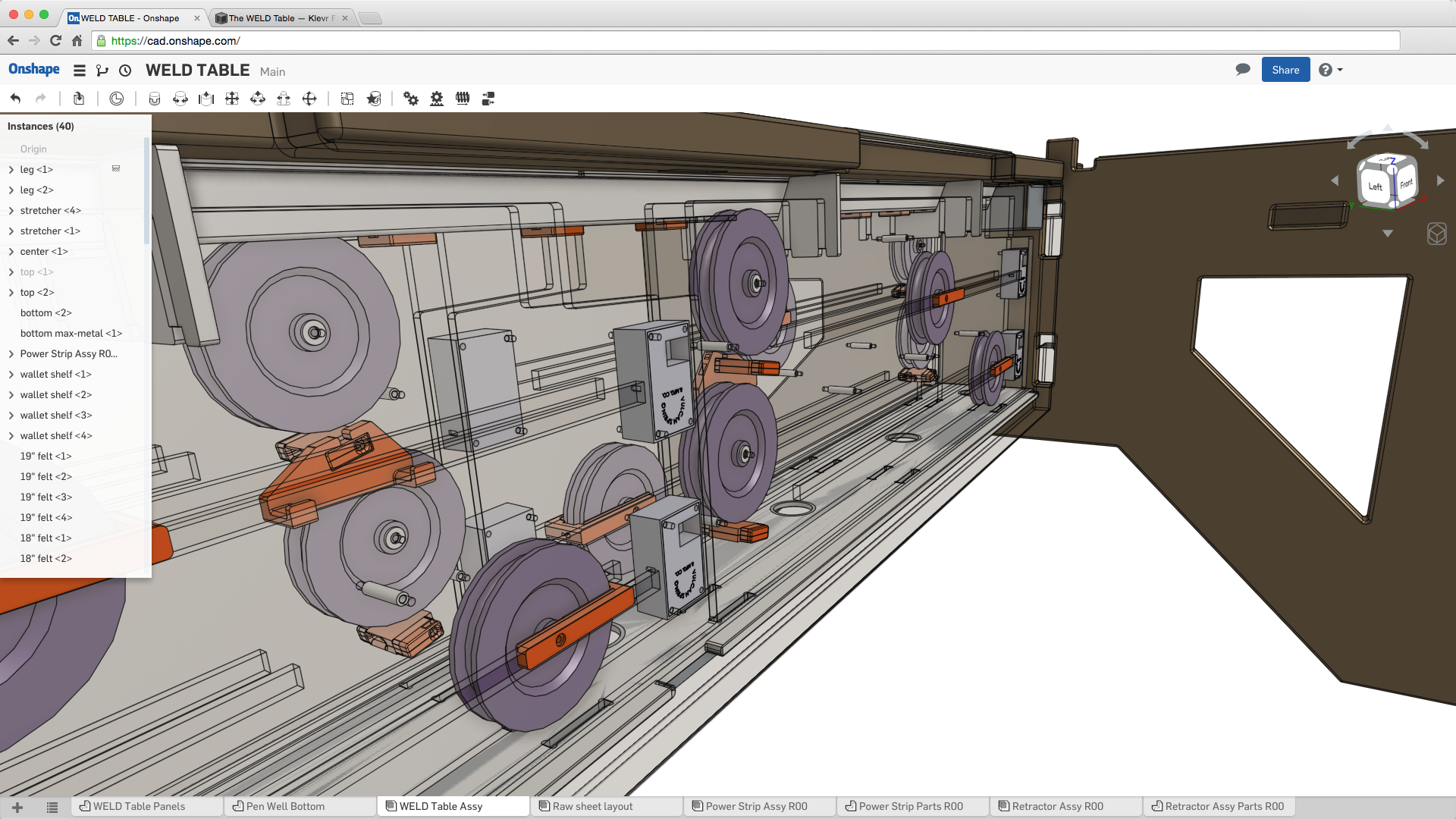 Wireframe view of center of Klevr WELD Table