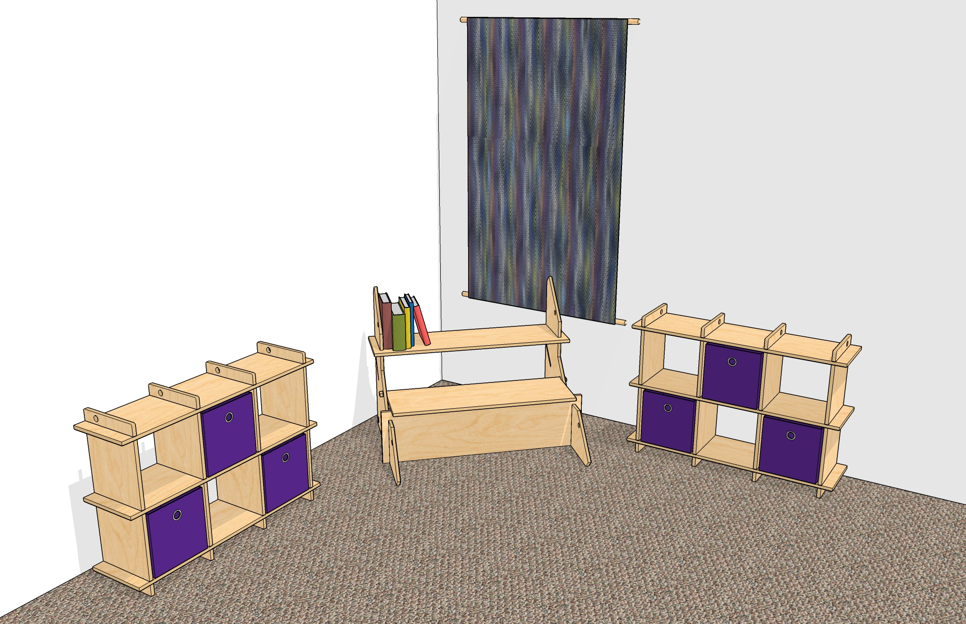 When reconfigured, the playhouse walls and roof turn into a small desk and two shelf units plus a tapestry to hang up for decoration.